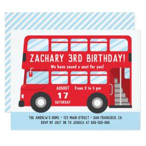 Red London Bus Kids Birthday Party Invitations