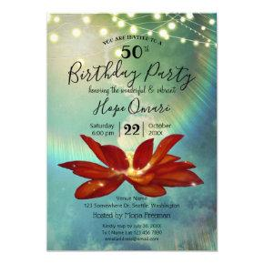 Red Lotus Flower | Blue 50th Birthday Party Invitation