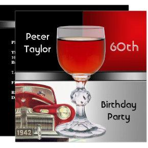 Red Metal Silver Red Car Mens 60th Birthday Man Invitation