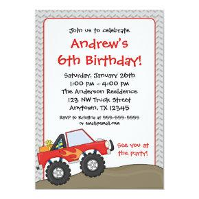 Red Monster Truck Birthday Invitations