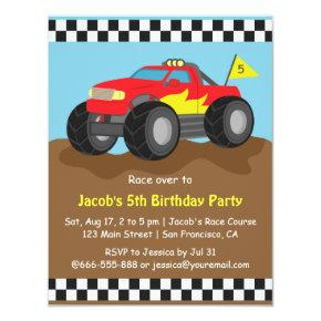 Red Monster Truck Birthday Party Card