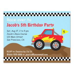 Red Monster Truck Birthday Party, For Kids Invitations