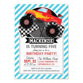 Red Monster Truck; Checkered Flag; Blue Stripes Invitations