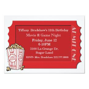Red Movie Ticket Party Invitations