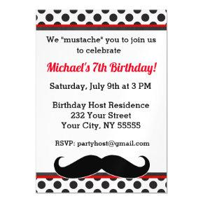 Red Mustache Birthday Magnetic Invitation