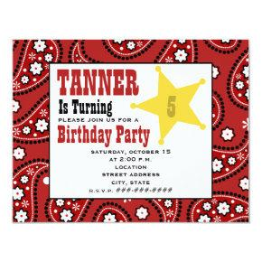 Red Paisley Bandana Kids Cowboy Birthday Invite