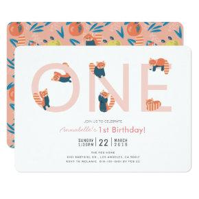 Red Panda Pink Girl 1st Birthday Invitations
