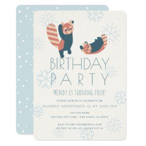 Red Pandas Snowflake Birthday Party Invitations