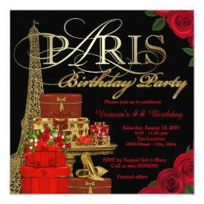 Red Paris Birthday Party Invitation