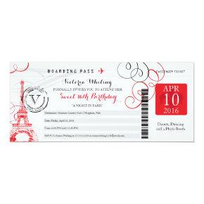 Red Paris Eiffel Tower | Sweet 16 Birthday Invitations