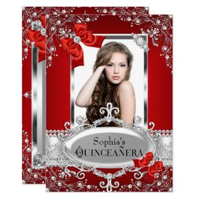 Red Pearl & Silk Bow Glamour Quinceanera Card