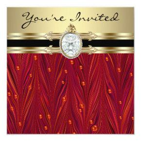 Red Pearls Black Gold Womans Birthday Party Invitations