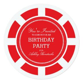 Red Poker Chip Birthday Party Invitations
