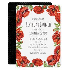 Red Poppy Polka Dot Birthday Brunch Invitation