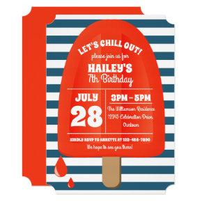 Red Popsicle Birthday Party Invitations