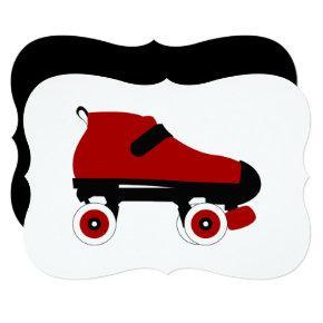 red quad roller derby skate invitation