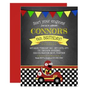 Red Race Car Birthday Party Invitation