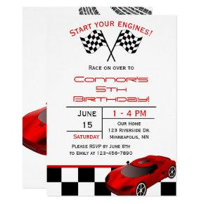 Red Race Car | Custom Kids Birthday Invitation