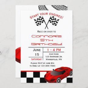 Red Race Car | Custom Kids Birthday Invitation