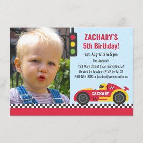 Red Race Car Themed Boys Birthday Party Photo Invitation