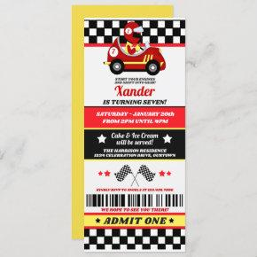 Red Race Car Ticket Style Birthday Party Invitation