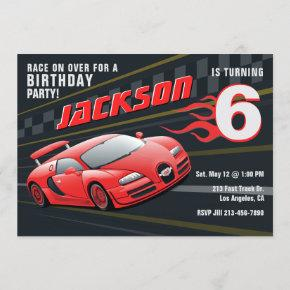 Red Racecar Racing Birthday Party Invitation