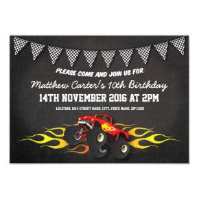 Red Racing Monster Jam Truck Bunting Birthday Invitations