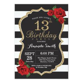 Red Rose 13th Birthday Invitations Gold Glitter
