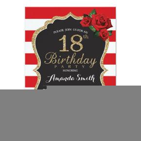 Red Rose 18th Birthday Invitations Gold Glitter