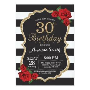 Red Rose 30th Birthday Invitations Gold Glitter