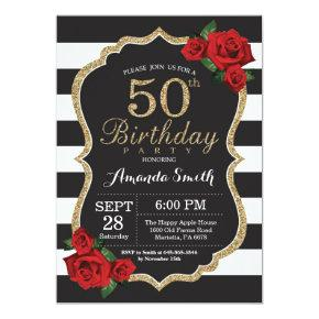 Red Rose 50th Birthday Invitation Gold Glitter