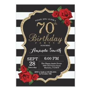 Red Rose 70th Birthday Invitations Gold Glitter
