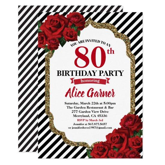 Red Rose 80th Birthday Invitations For Women