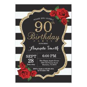Red Rose 90th Birthday Invitation Gold Glitter