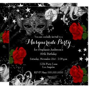 Red Rose Starry Magical Night Masquerade Party Invitation