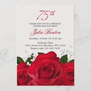 Red rose, white flowers 75th Birthday Invitation