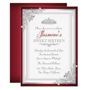 Red Silver Damask Tiara Sweet 16 Invitations