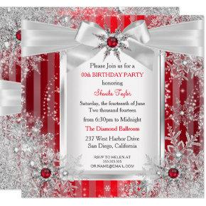 Red Snowflake Silver Bow Winter Wonderland Party Invitation