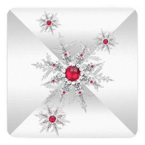 Red Snowflakes Winter Wonderland Birthday Party Invitation