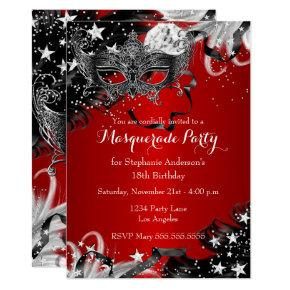 Red Sparkle Magical Night Masquerade Party Invite