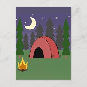 Red Tent Camping Birthday Party Post Invite