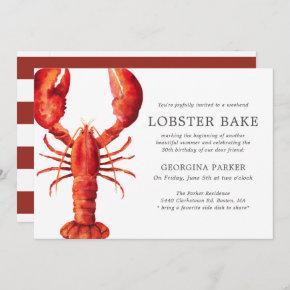 Red Tide | Lobster Bake Birthday | Red Stripes Invitation