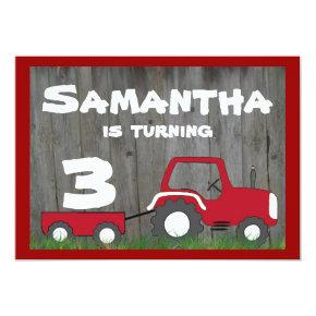 Red Tractor Birthday Invitations: Age in Cart Invitations