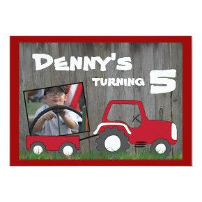 Red Tractor Birthday Invitations: Photo in Cart Invitations