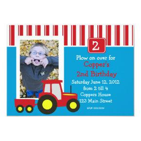 Red Tractor Birthday Party Invitations