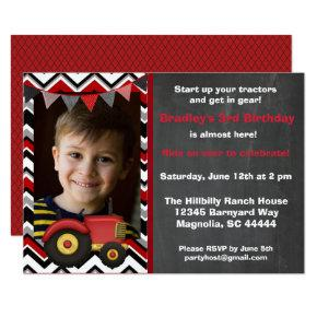 Red Tractor Chalkboard Birthday Invitation