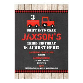 Red tractor farm birthday Invitations boy