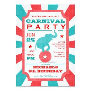 Red | Turquoise Carnival Party Big Top Birthday Invitation