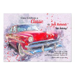 Red Vintage Car Invitations