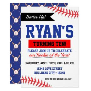 Red White and Blue Baseball Rookie of the Year Invitation